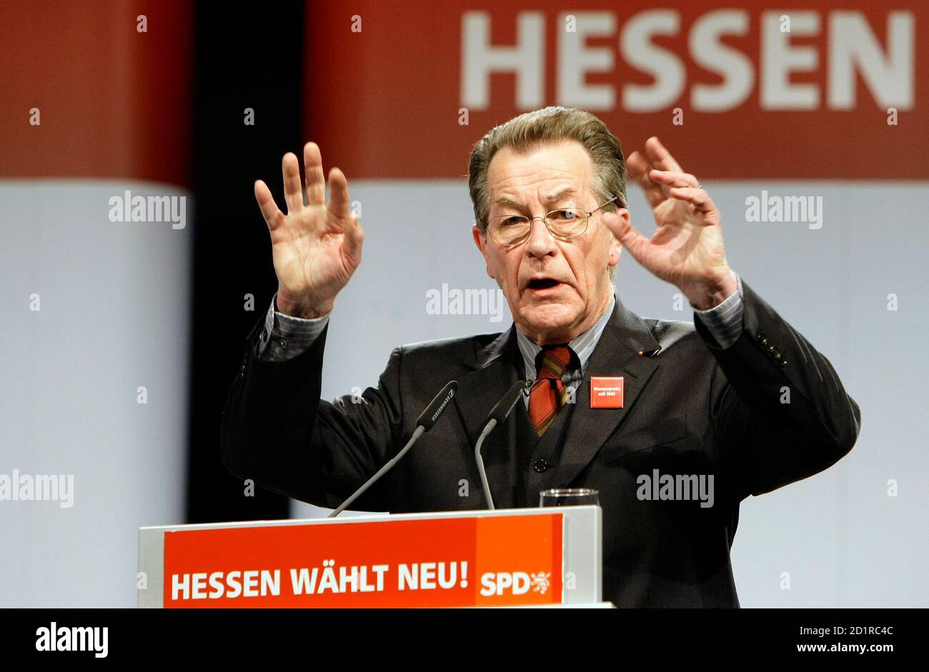 Franz Muentefering, leader of Germany's Social Democratic Party SPD, delivers a speech during an extraordinary party convention in Alsfeld, December 13, 2008.     REUTERS/Thomas Bohlen   (GERMANY) Stock Photo
