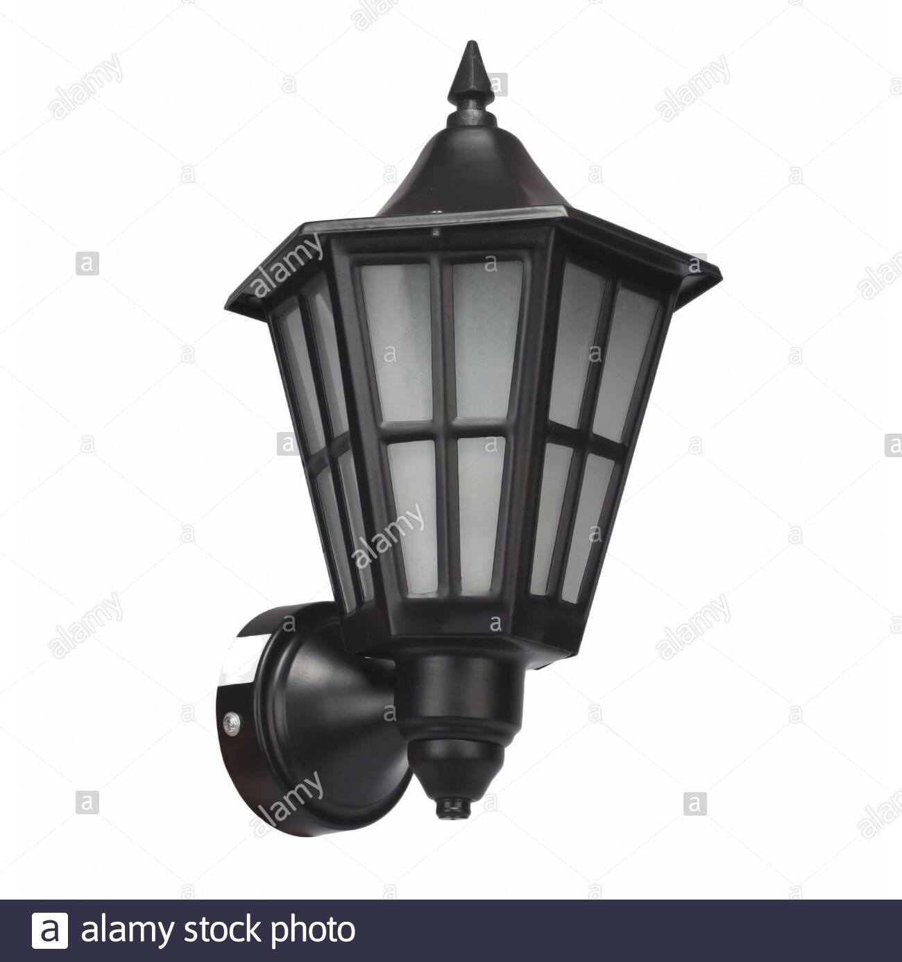 Retro vintage street lamp isolated over white background Stock Photo
