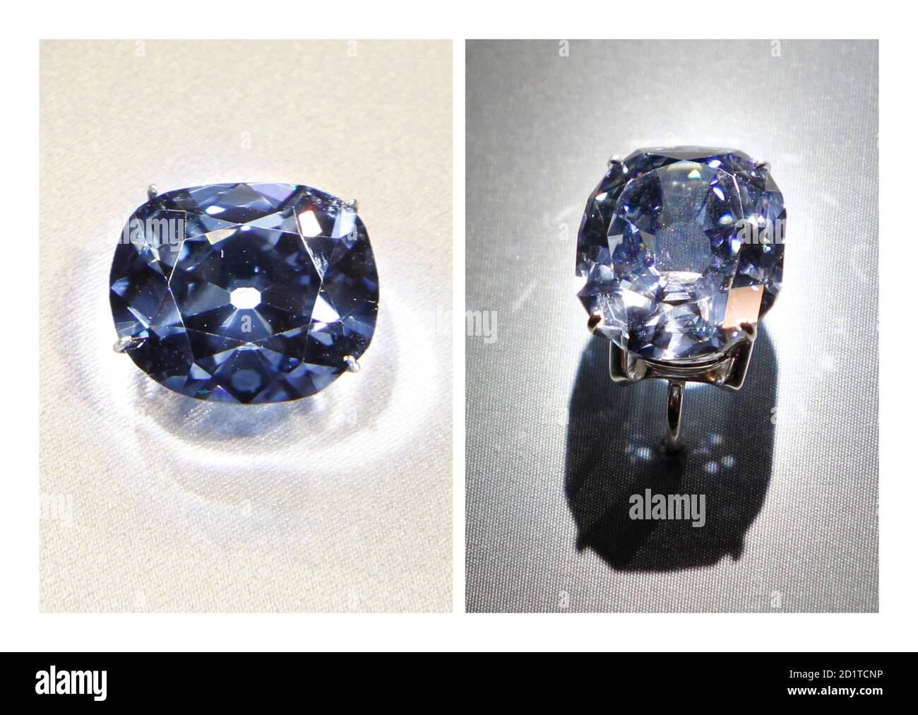 The 45.42 carat Hope Diamond (L) and the 31.06 carat Wittelsbach-Graff Diamond are shown in this combination photograph on display at the Smithsonian National Museum of Natural History in Washington, January 29,