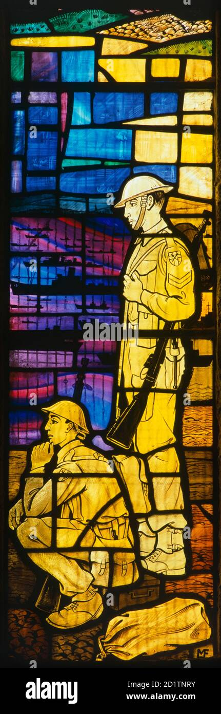 ROYAL GARRISON CHURCH, PORTSMOUTH, Hampshire. From a series of stained glass window depicting soldiers of different centuries. Detail of central panel (20th century). Stock Photo