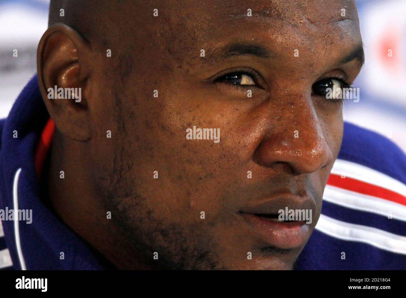 France's national soccer team player Eric Abidal attends a news conference in Knysna, near Cape Town June 13, 2010. REUTERS/Charles Platiau (SOUTH AFRICA - Tags: SPORT SOCCER WORLD CUP HEADSHOT) Stock Photo