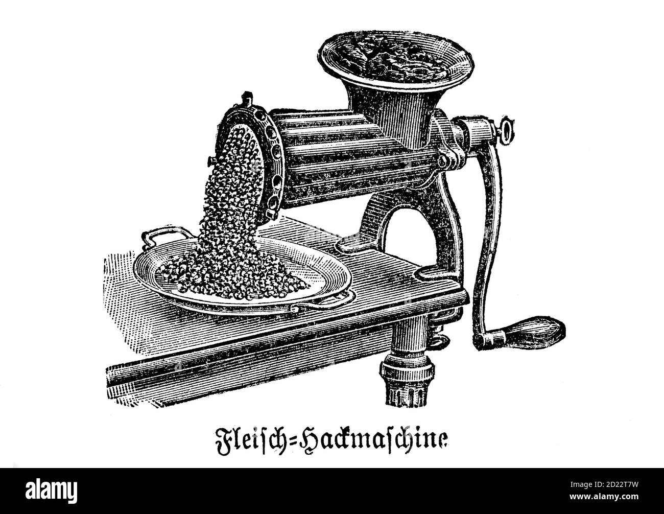 kitchen implement, Meat - Hoe, meat grinder, historical kitchen appliances, Betty Gleim's cookbook, 1847  /   Fleisch - Hackmaschine, Fleischwolf, historische Küchengeräte, Betty Gleims Kochbuch, 1847, Historisch, historical, digital improved reproduction of an original from the 19th century / digitale Reproduktion einer Originalvorlage aus dem 19. Jahrhundert Stock Photo