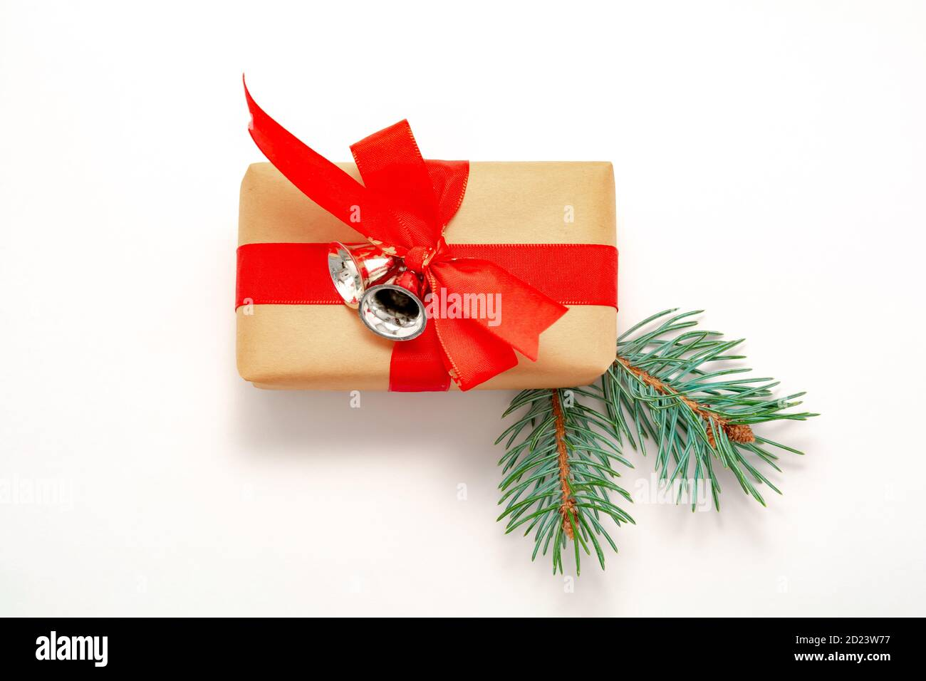 Christmas Ribbon 2021 2021 Happy New Year Merry Christmas Decorations Flatlay Banner Gift Box Red Ribbon Silver Bells Spruce Branch Top View Stock Photo Alamy