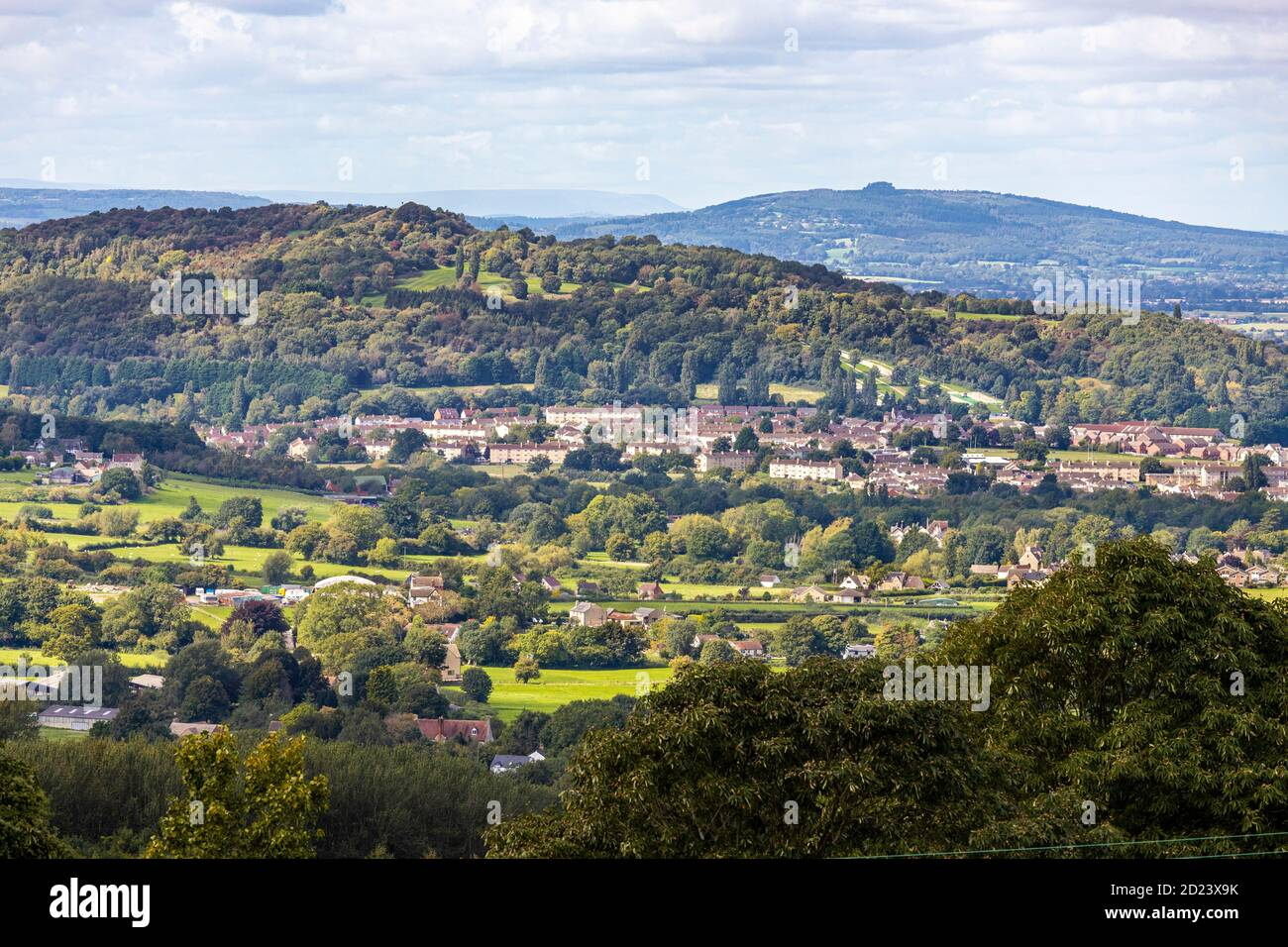 Matson housing estates on the slopes of Robinswood Hill with May Hill in the background viewed from Prinknash near Upton St Leonards, Gloucestershire Stock Photo