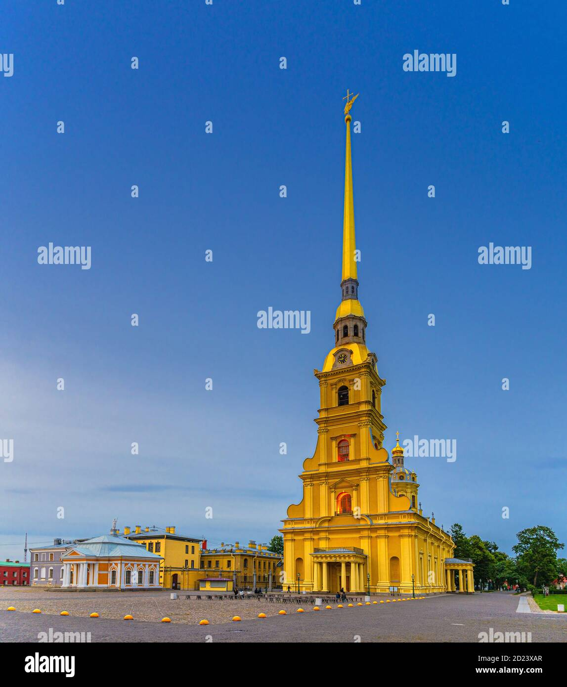 Saints Peter and Paul Cathedral Orthodox church with golden spire in Peter and Paul Fortress citadel on Zayachy Hare Island, evening dusk twilight view, Saint Petersburg Leningrad city, Russia Stock Photo