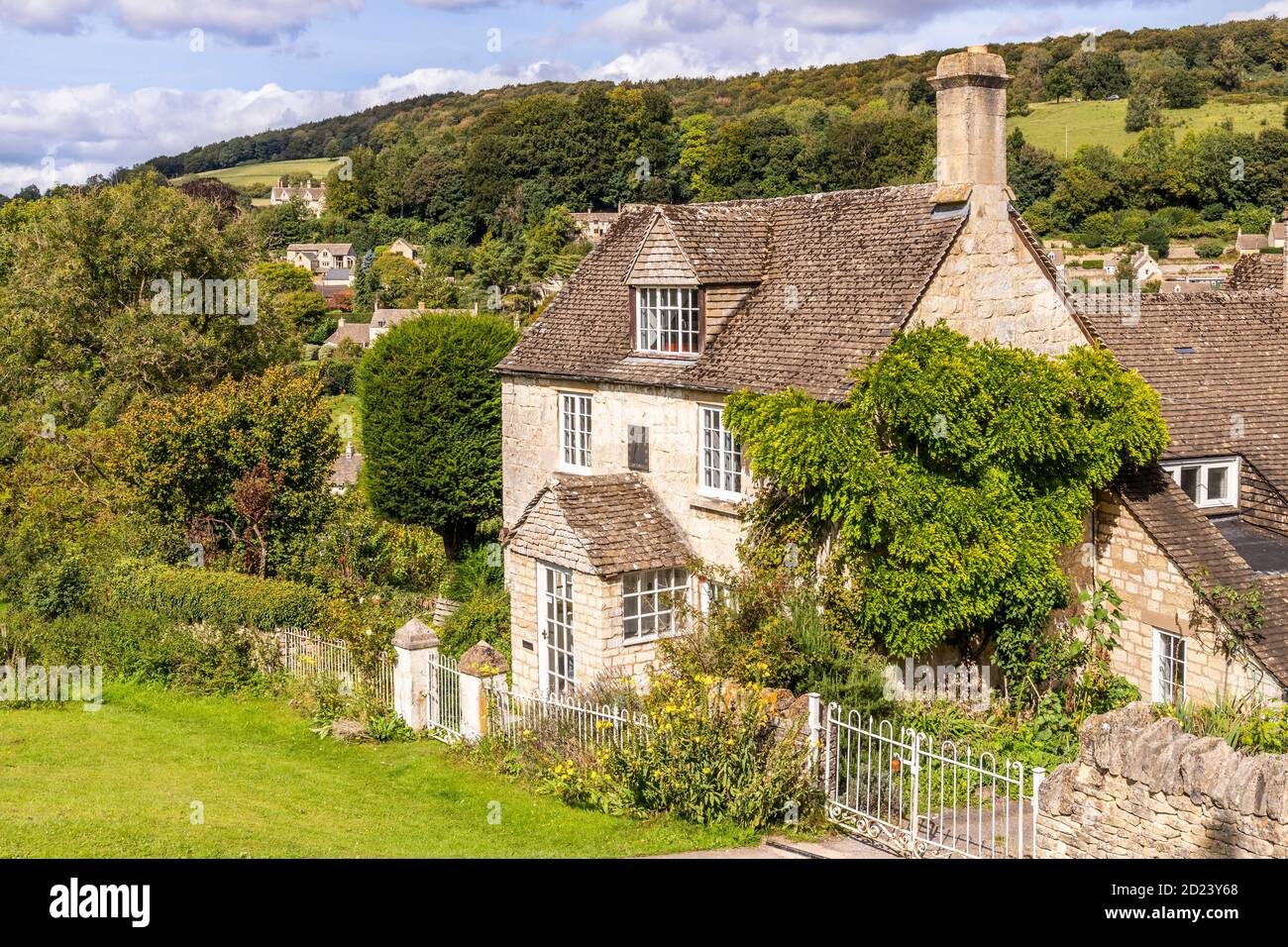 A stone cottage in the Cotswold village of Sheepscombe, Gloucestershire UK Stock Photo