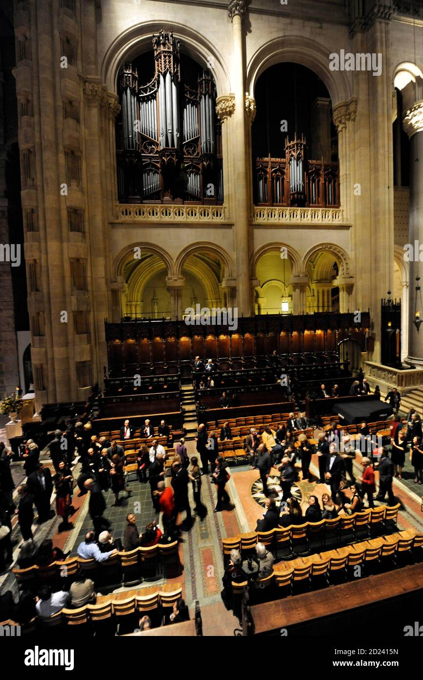 """Part of the newly restored Great Organ, built in 1911 with over 8,000 pipes and 141 ranks, is pictured high in the choir area of the Cathedral Church of St. John the Divine in New York, December 3, 2008. The church was open for an """"End-to-End"""" party celebrating the completion of a seven-year restoration project after the organ and interior had been damaged by a December 2001 fire.  REUTERS/Ray Stubblebine  (UNITED STATES) Stock Photo"""