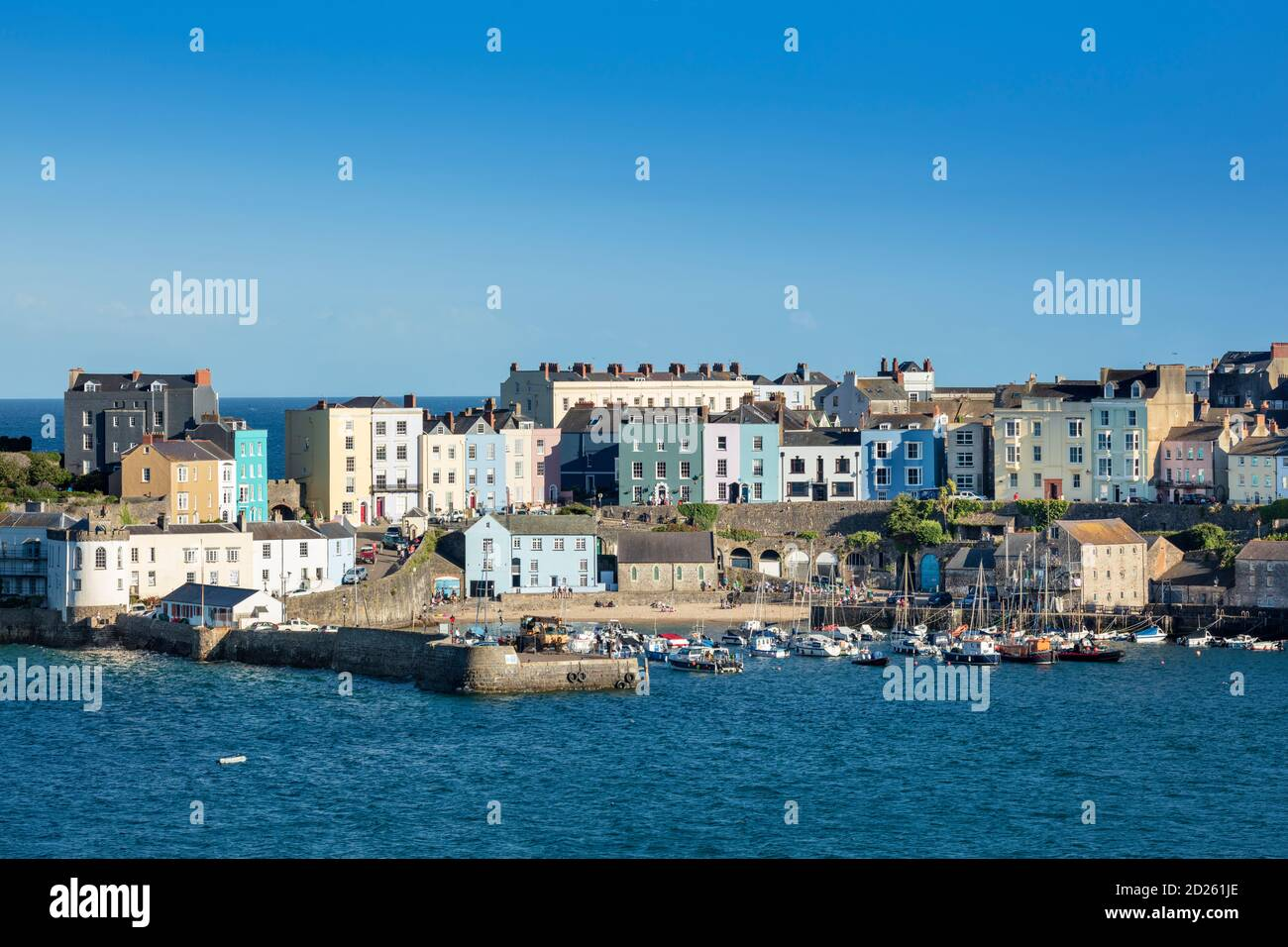 Tenby Town and harbour, summer day, blue sky, Pembrokeshire resort, Carmarthen Bay, Bristol Channel, seaside, Wales Stock Photo