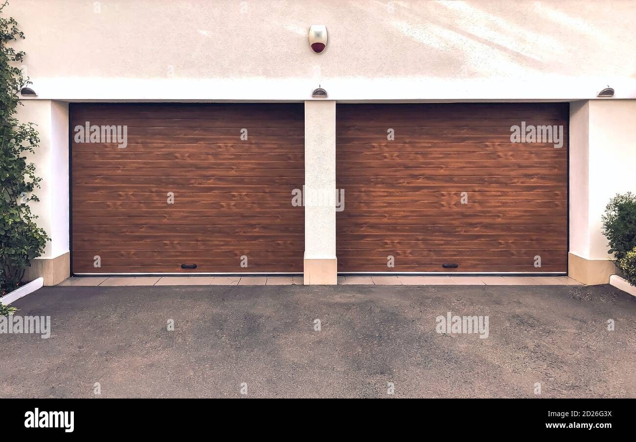 Modern Double Garage Doors Large Automatic Up And Over Garage Doors Close Up Photo Stock Photo Alamy