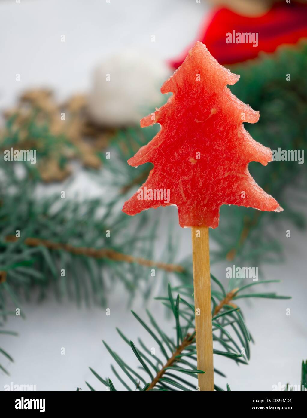 Watermelon Ice Cream In The Shape Of A Christmas Tree Summer Fruit Dessert On A Stick For Design Card Happy New Year Slices Of Red Melon Stock Photo Alamy