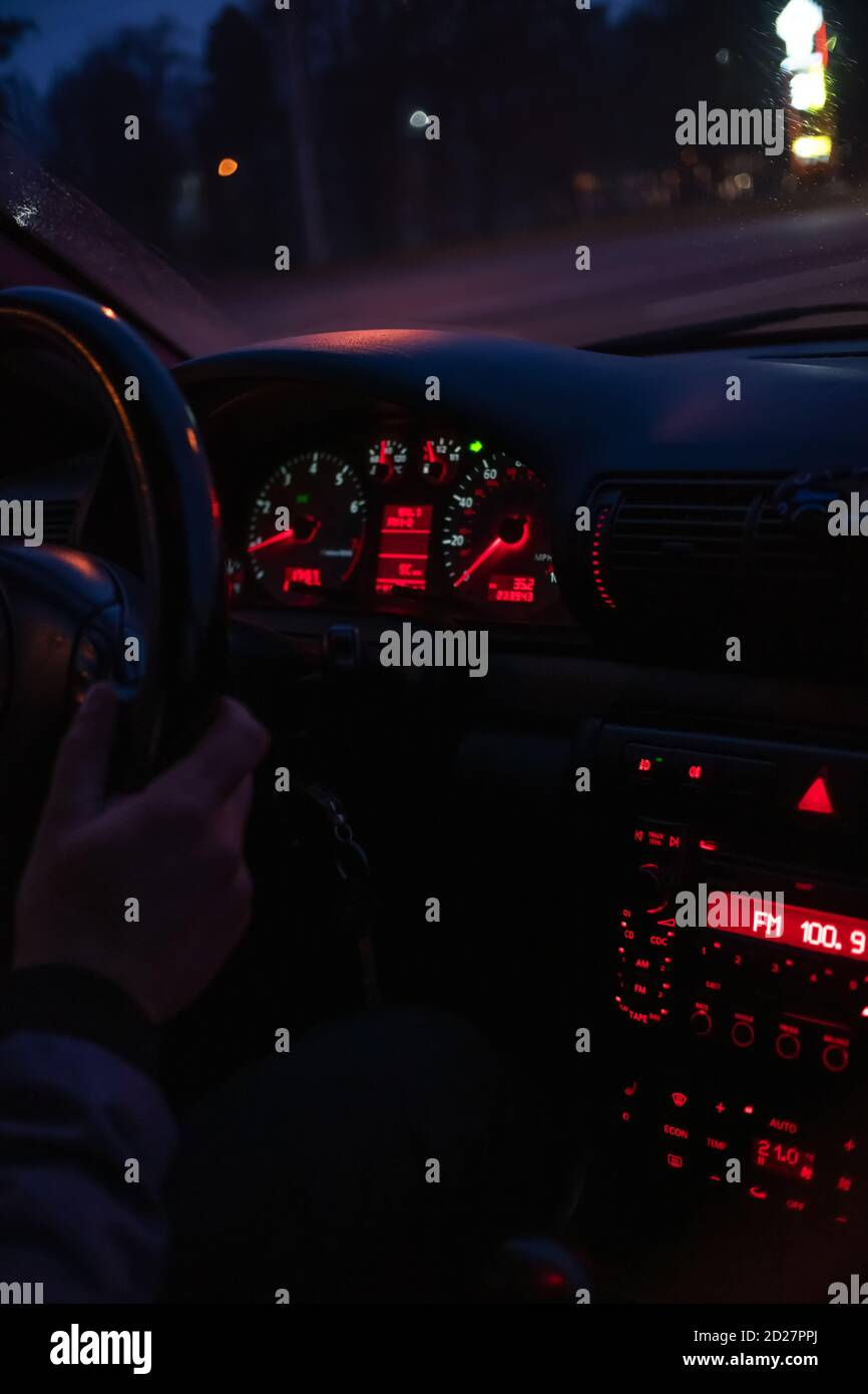 Hands Steering Wheel Night High Resolution Stock Photography And Images Alamy