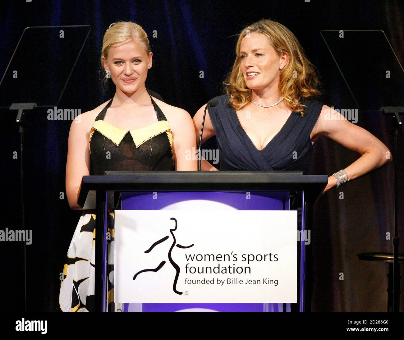 Cast Members From The Movie Gracie Elisabeth Shue R And Carly Schroeder Speak On Stage At The Billies Charity Gala In Beverly Hills April 11 2007 The Event Presented By The Women S