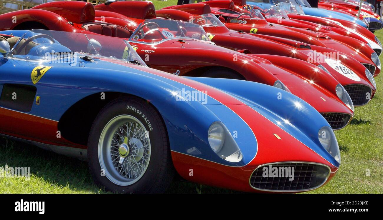 Vintage Ferrari Cars Are Parked On The Company S Track In The Italian Town Of Fiorano During A Relay For The Celebration Of Ferrari S 60th Anniversary June 23 2007 Reuters Giampiero Sposito Italy Stock