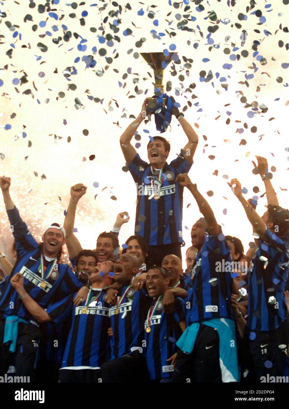 Inter Milan Captain Javier Zanetti Lifts The Italian Serie A Trophy At San Siro Stadium In Milan May 18 2008 Inter Milan Retained Their Serie A Title On Sunday With A 2 0