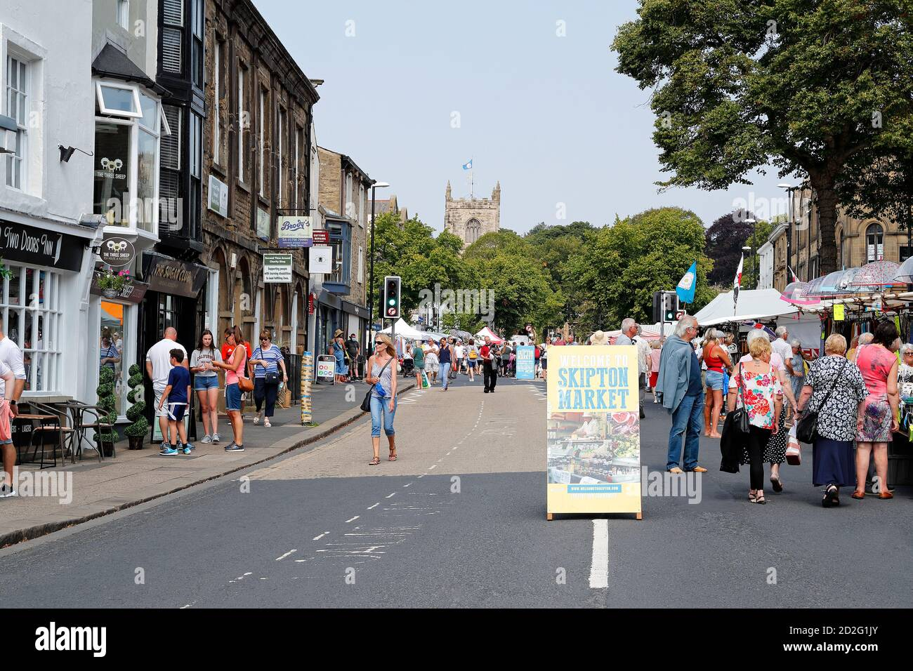 Skipton market with very few shoppers due to the Covid 19 Pandemic. 12-09-2020 Stock Photo