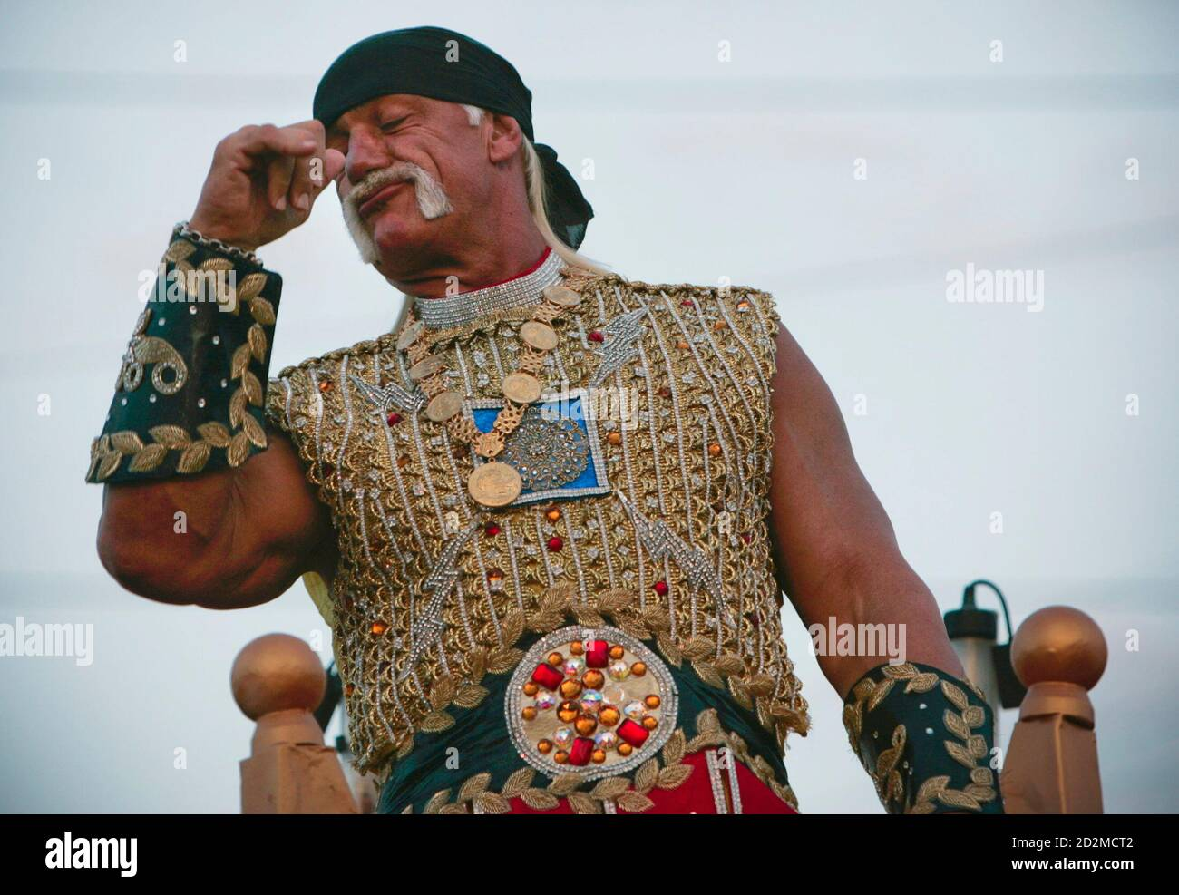Grand Marshall, professional wrestler and actor, Hulk Hogan flexes his arm during the Bacchus Mardi Gras parade in New Orleans, Louisiana February 3, 2008. REUTERS/Lee Celano (UNITED STATES) Stock Photo