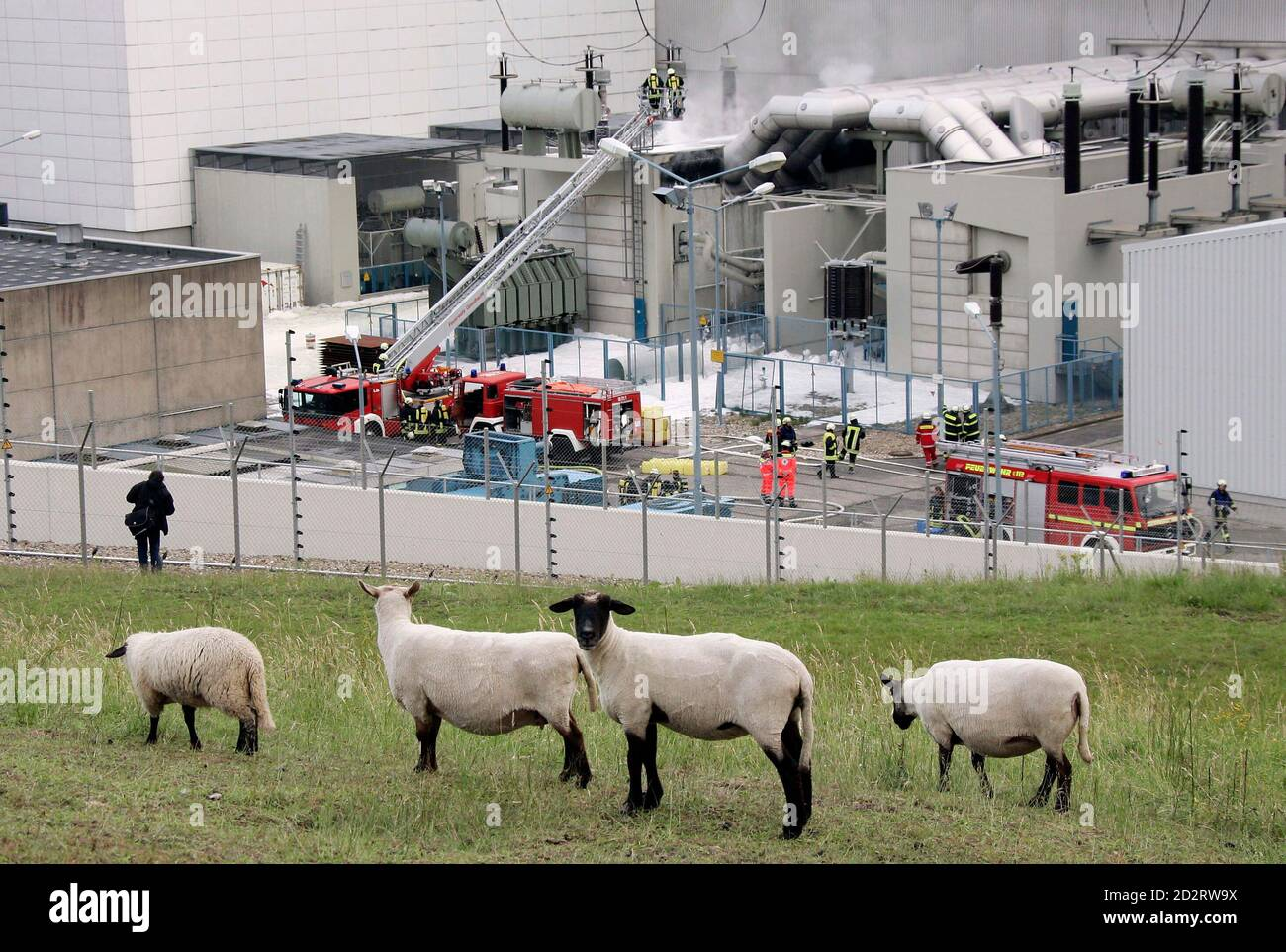 Sheep graze near the nuclear power plant Kruemmel while firefighters spray foam after extinguishing a fire at a transformer station on the site of the nuclear power plant Kruemmel, near Geesthacht, June 28, 2007. A fire broke out near the nuclear plant in northern Germany on Thursday but police said the reactor was unaffected. Vattenfall Europe, the main operator of the 1,316-megawatt Kruemmel reactor near Hamburg, said both it and the 806-megawatt Brunsbuettel plant had been disconnected from the power grid as a precaution. REUTERS/Morris Mac Matzen (GERMANY) Stock Photo