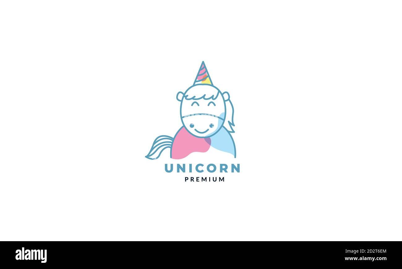 Horse Or Unicorn Head Smile Cute Cartoon Logo Vector Illustration Stock Vector Image Art Alamy