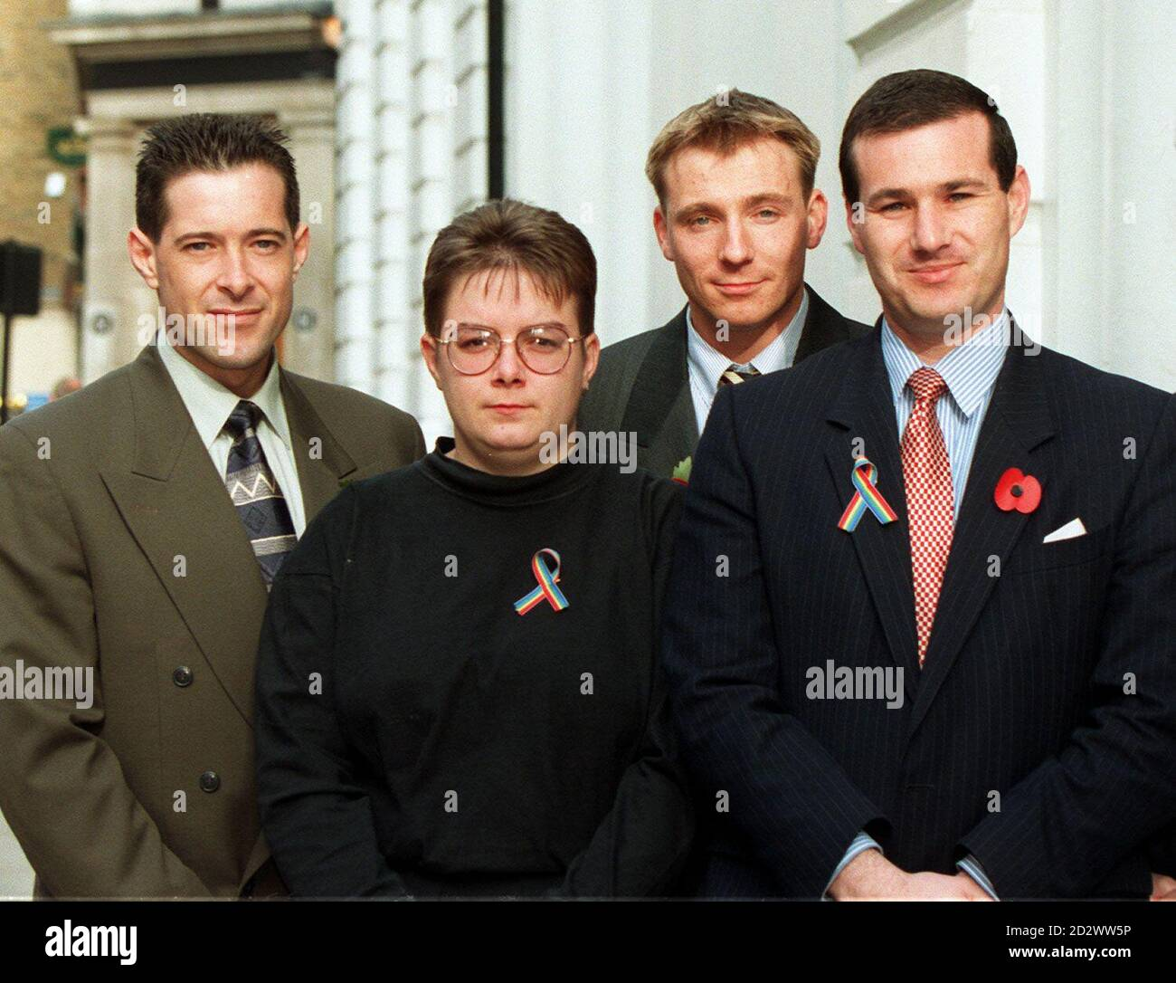 Sacked members of the Armed Forces (l-r) Graeme Grady, Jeanette Smith, John Beckett and Duncan Lustig-Prean stand outside the Law Society after hearing the Appeal Court ruling that the ban on homosexuals serving in the military was lawful. The three judges ruled the Ministry of Defence's automatic bar on gays - said to be necessary to maintain the morale and efficiency of the fighting forces - was neither irrational nor unawful. 27/9/99  who will hear if the European Court of Human Rights supports their claim that the investigations into their homosexuality and subsequent sackings violated the Stock Photo