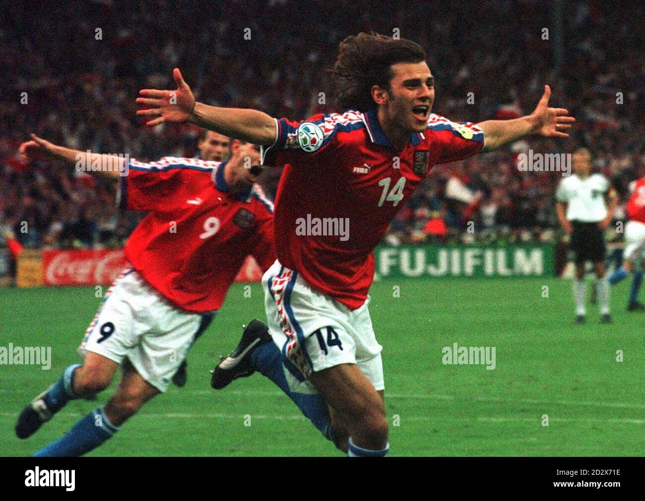 Patrik Berger celebrates opening the scoring for Czech Republic from a penalty against Germany in today's (Sun) Euro 96 Final at Wembley. Photo by Sean Dempsey/PA Stock Photo