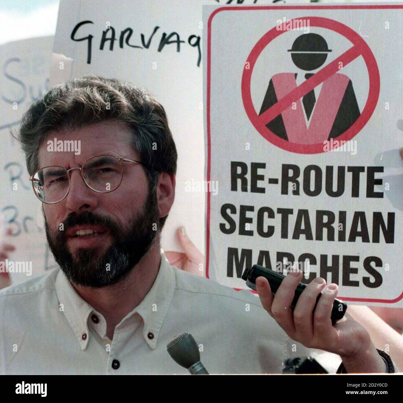 Sinn Fein President, Gerry Adams addresses a rally in Belfast after an Orange Order march was allowed to march down the Nationalist Garvaghy Road in Portadown,today (Sunday).PA Stock Photo