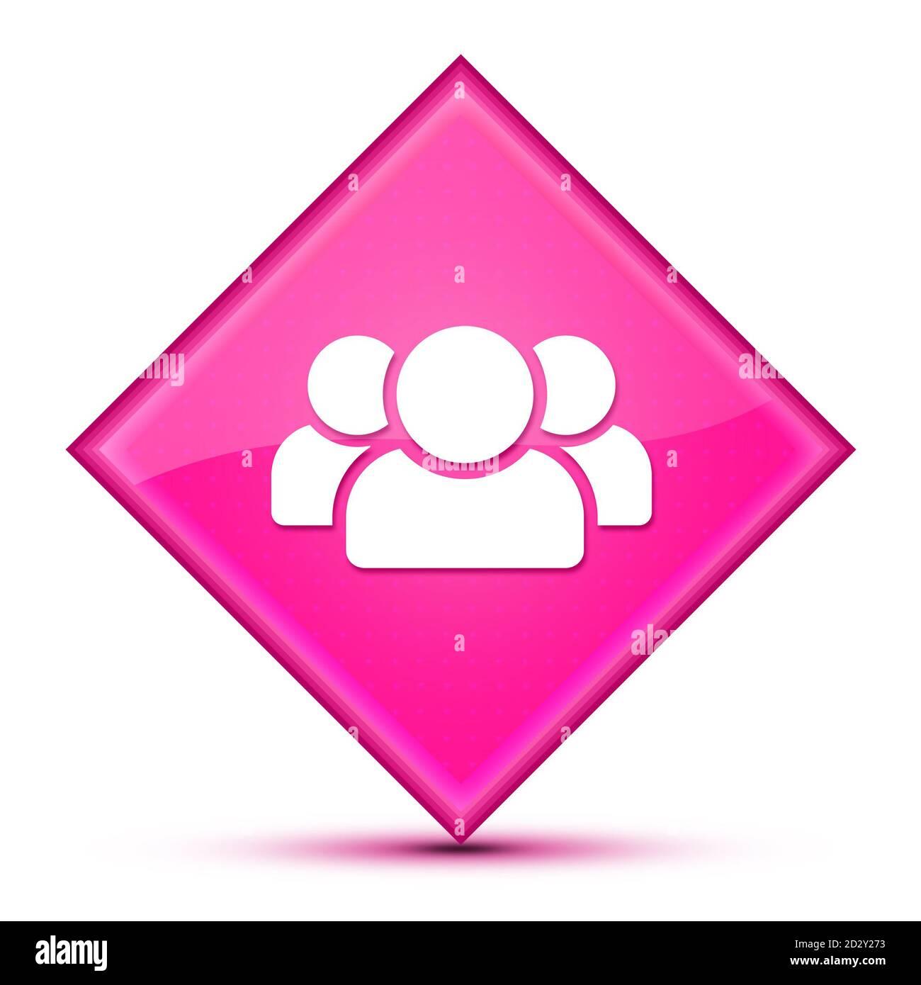 People icon isolated on luxurious wavy pink diamond button abstract illustration Stock Photo
