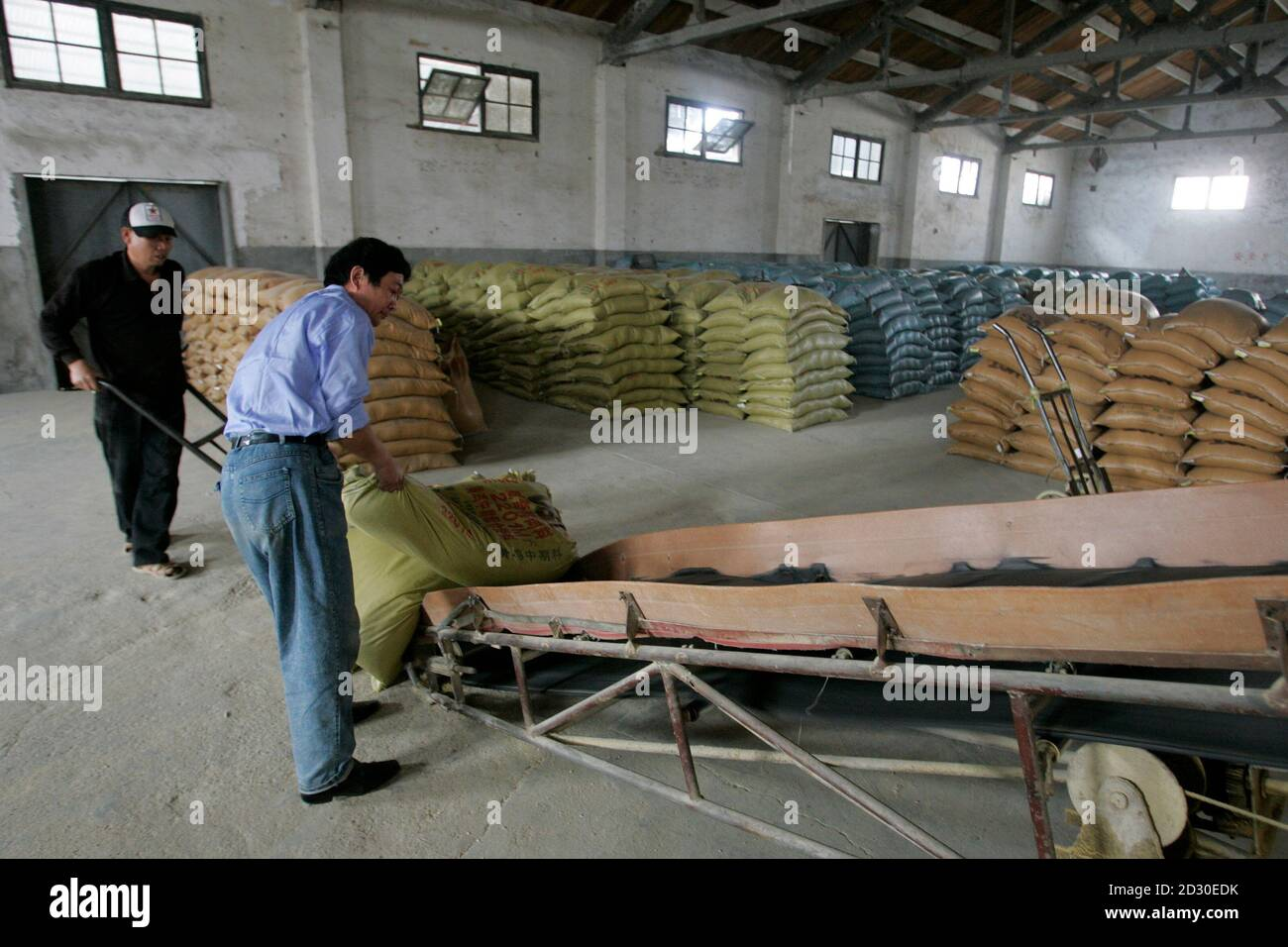 Men work at a grains storehouse in Nanhui district on the outskirts of Shanghai April 7, 2008. China will offer farmers more favourable treatment to encourage them to sow crops so as to guarantee grain reserves and ease inflationary pressures, Premier Wen Jiabao said in comments published on Sunday. REUTERS/Aly Song (CHINA) Stock Photo