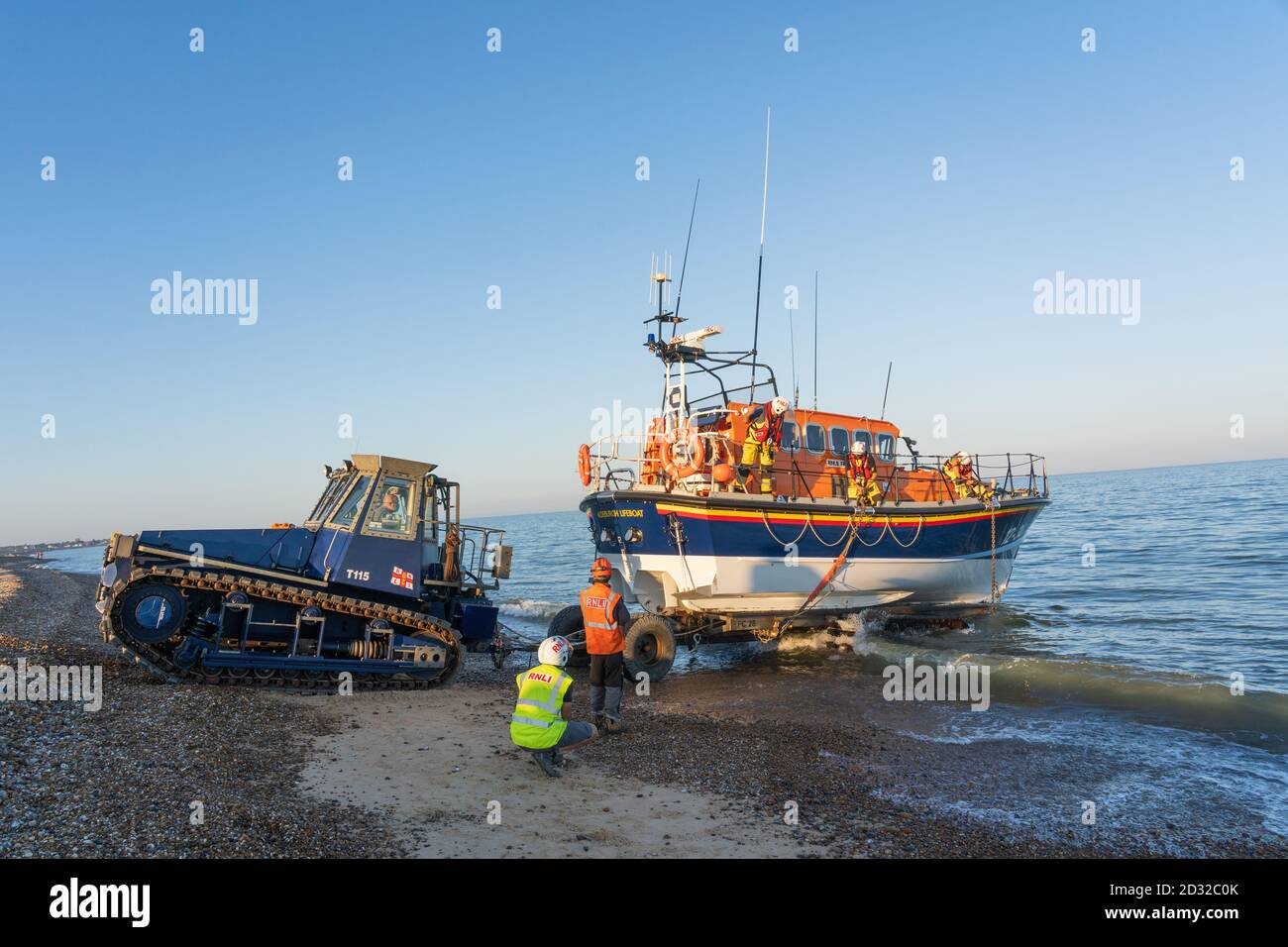 Aldeburgh, Suffolk. UK. September 2020. Tractor and crew prepare the Aldeburgh Lifeboat for launch. Stock Photo