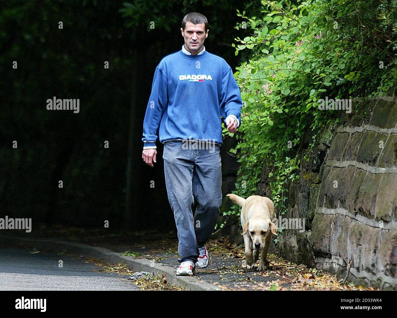 Republic Of Ireland And Manchester United S Roy Keane Walks His Dog Outside His Home In Hale