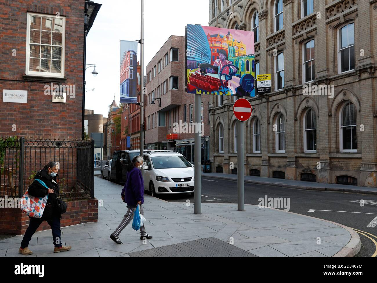 Leicester, Leicestershire, UK. 7th October 2020. Women walk in the culture quarter 100 days since the UKÕs first local coronavirus pandemic lockdown was announced in the city. Credit Darren Staples/Alamy Live News. Stock Photo