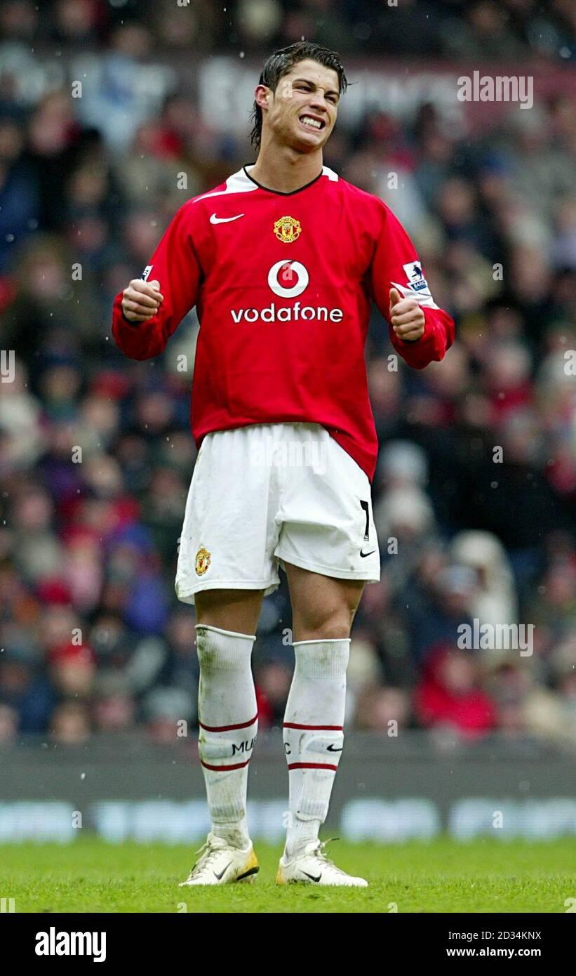 Manchester United S Cristiano Ronaldo Rues A Missed Free Kick Stock Photo Alamy