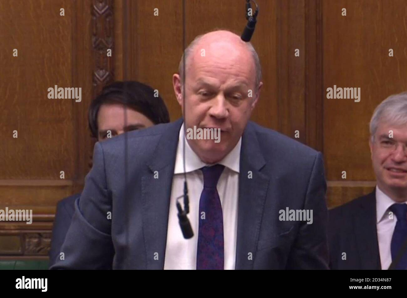 Former First Secretary of State Damian Green asks a question from the backbenches during Prime Minister's Questions in the House of Commons, London. Stock Photo