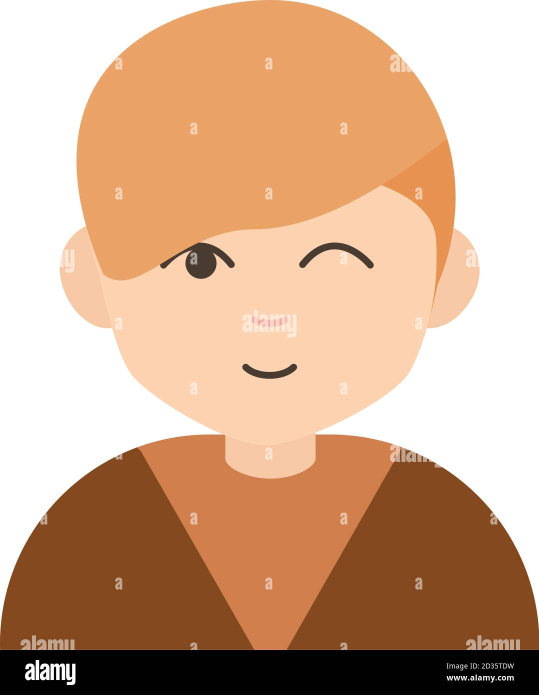 cute boy wink expression cartoon character flat icon vector illustration Stock Vector