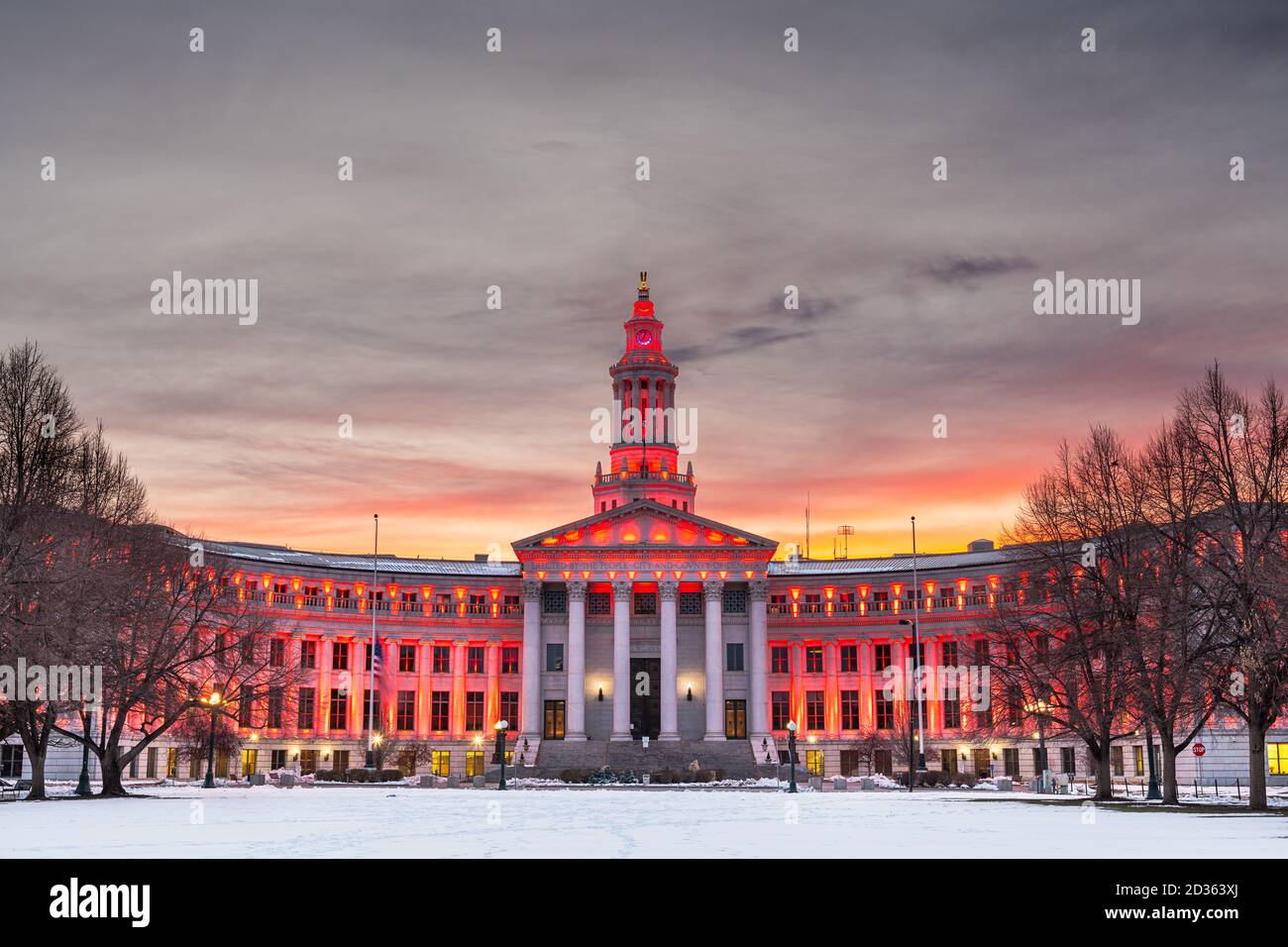 Denver, Colorado, USA city and county building at dusk in winter. Stock Photo