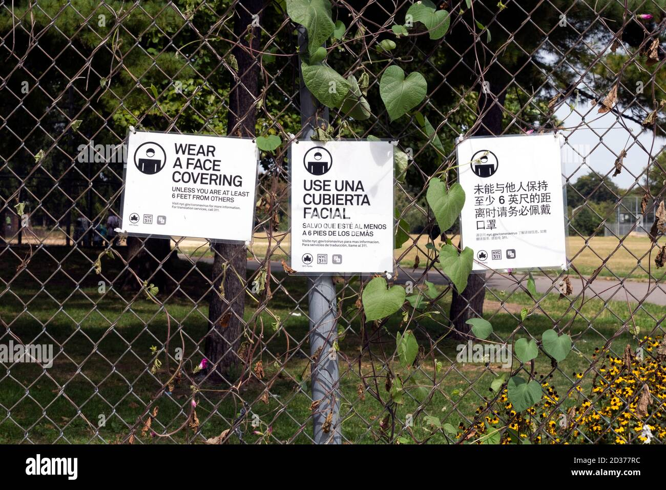 English, Spanish & Korean signs about the rules for wearing face coverings. At Flushing Meadows Corona Park in Queens, New York City. Stock Photo