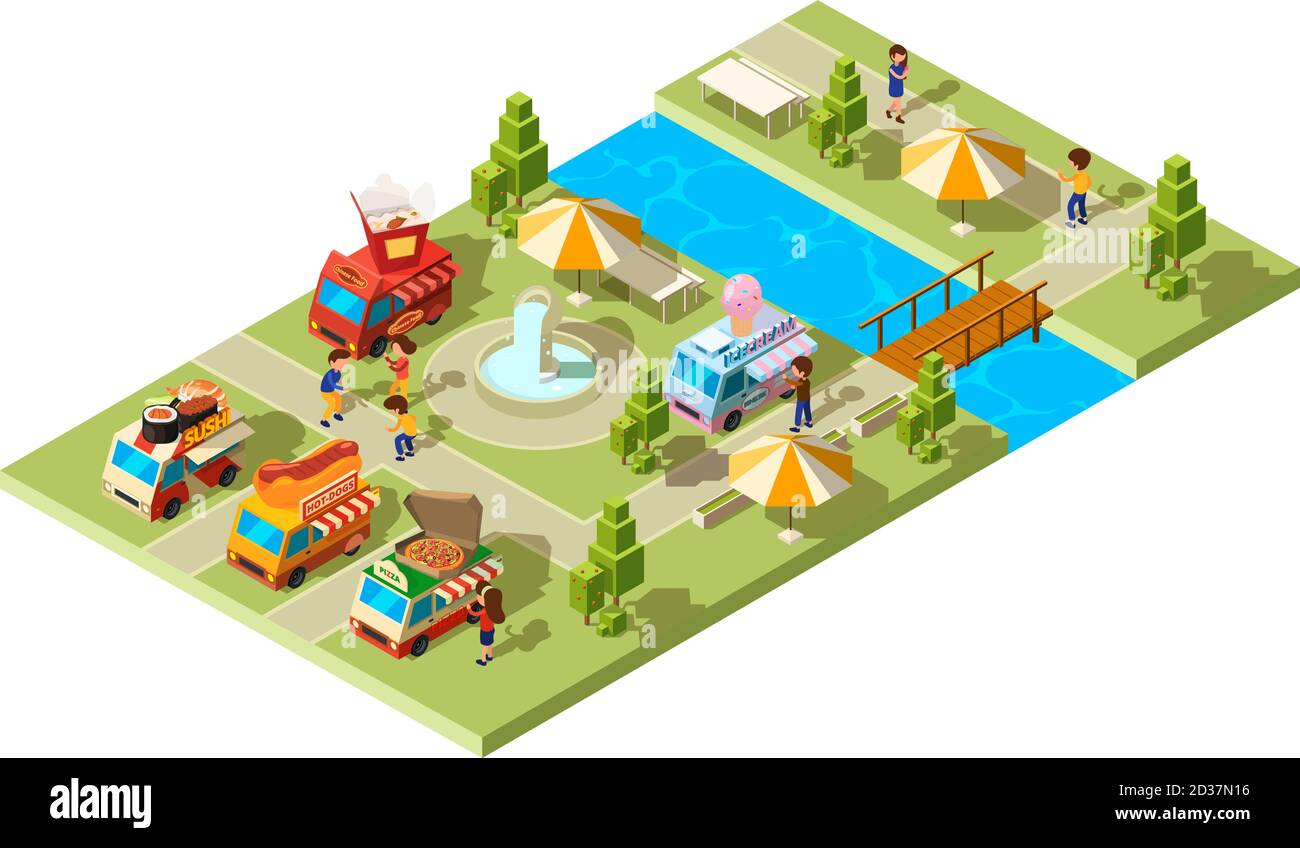 Street food park. Public place with wagons cars selling different food ice cream burgers sushi cold drinks vector isometric composition Stock Vector