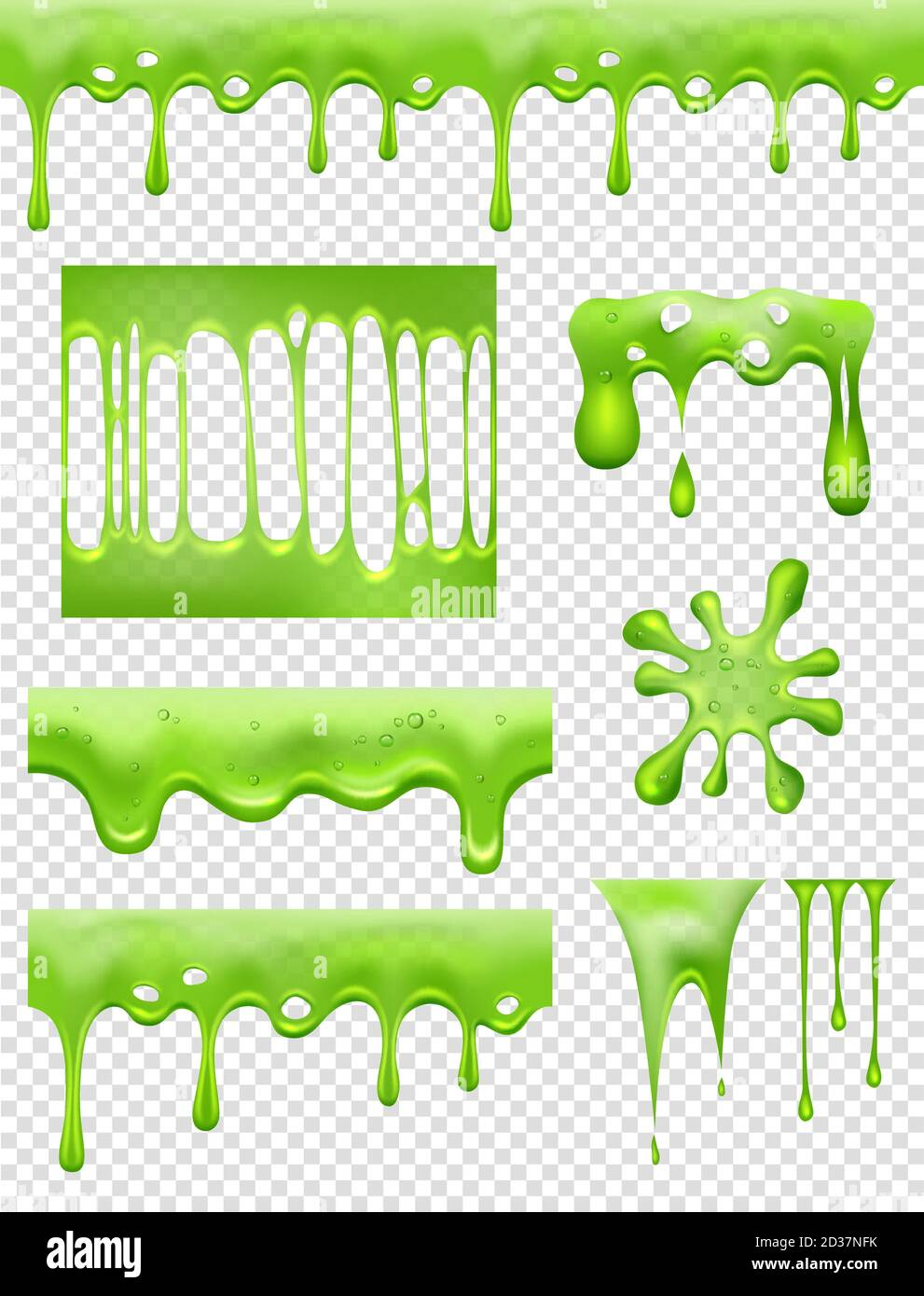 Slime. Green Glue dipping and flowing liquid drops and toxic splashes vector pictures Stock Vector