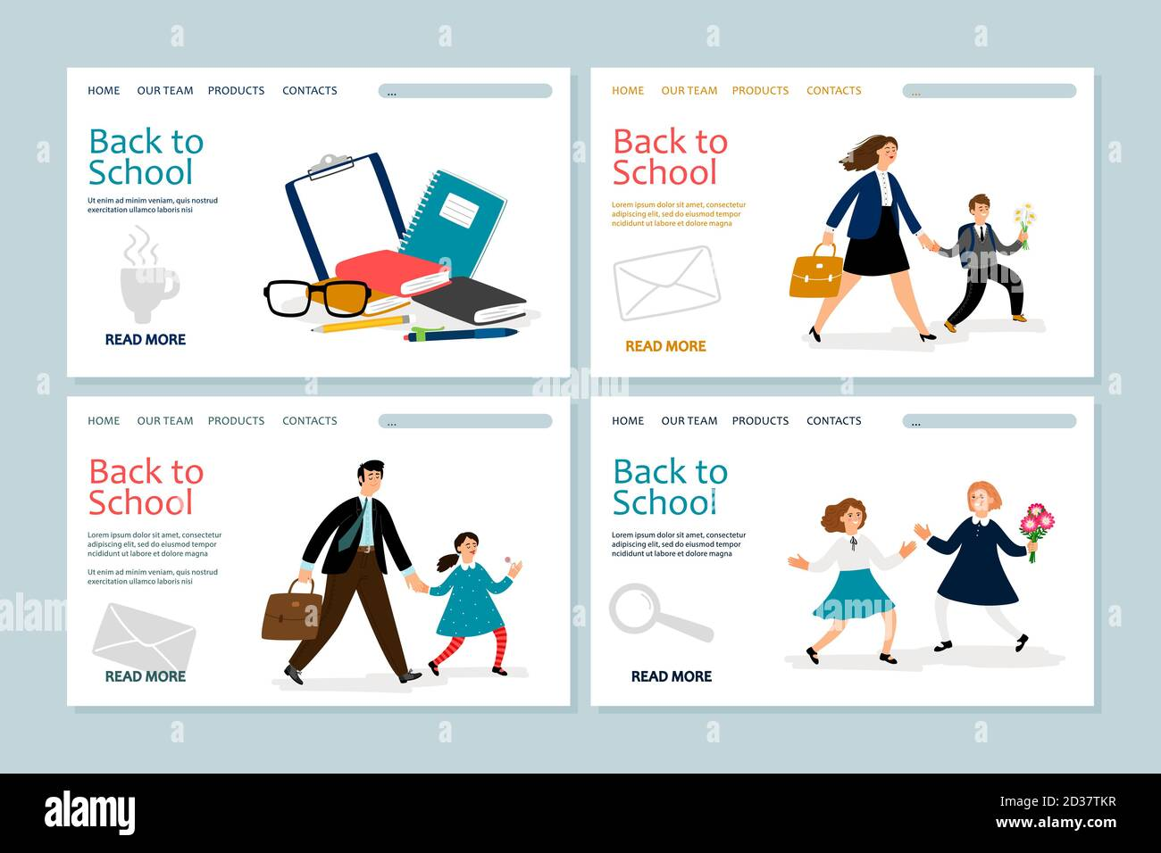 Back to school landing page template. Vector banners with school kids, parents, stationery. Back school, father or mother follow child to education illustration Stock Vector