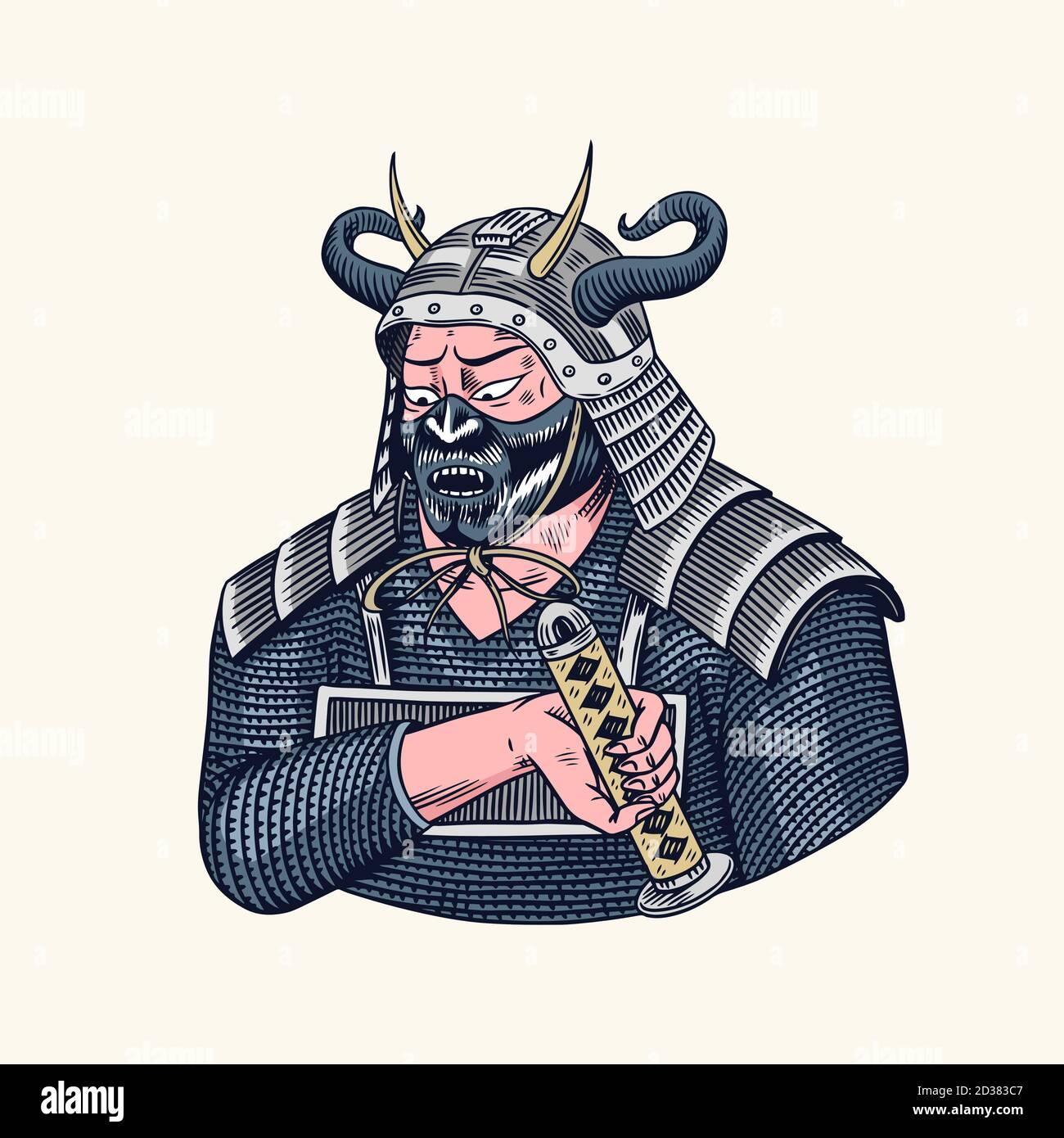 Japanese Samurai Illustration Samurai High Resolution Stock Photography And Images Alamy