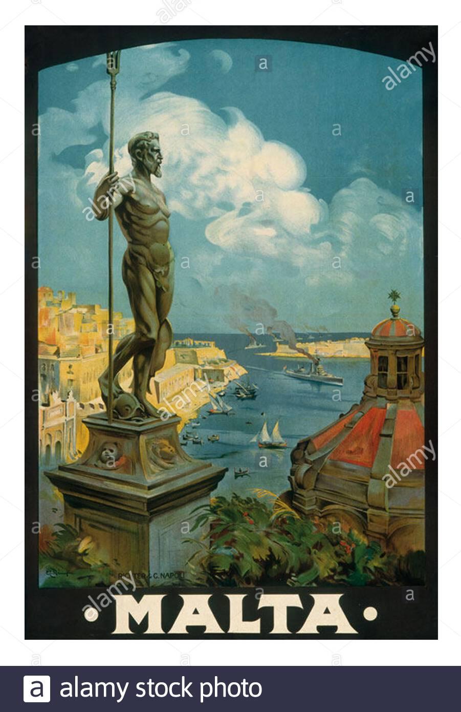 Art Deco Travel Posters Lovely Vintage Retro Holiday  Valletta Malta