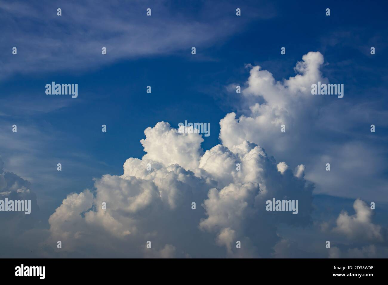 Sunny day in blue sky with nice white clouds like a monsters Stock Photo