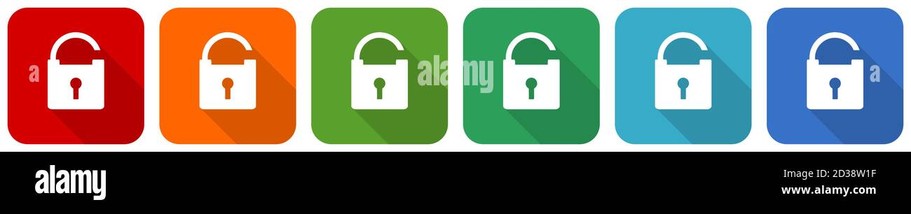 Padlock, security icon set, flat design vector illustration in 6 colors options for webdesign and mobile applications Stock Vector