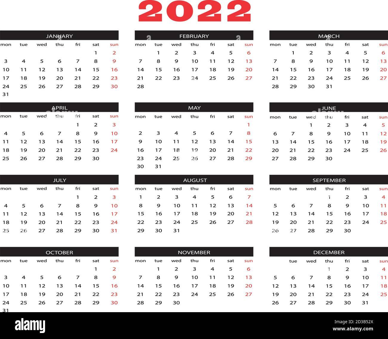 Calendar Year 2022.Calendar Year 2022 Stock Vector Image Art Alamy