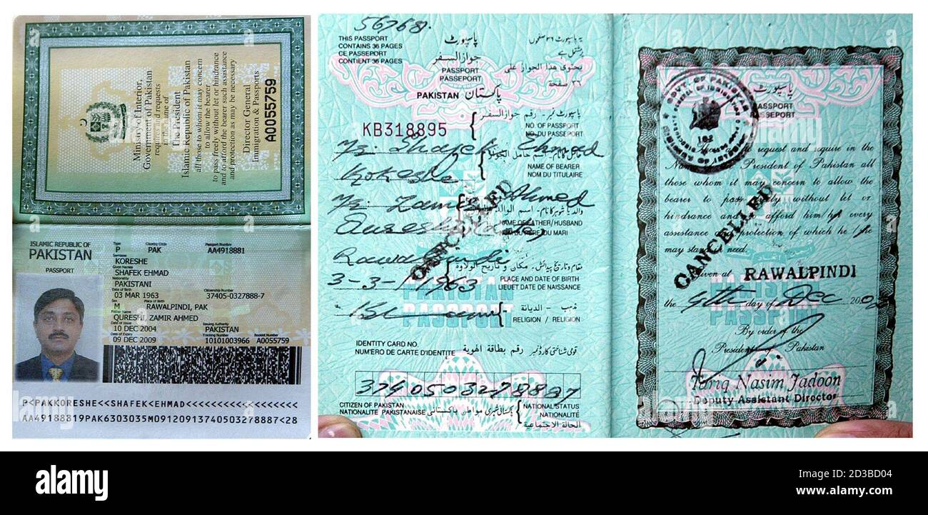 A combination picture shows Pakistan's new (R) and old (L) passports in Islamabad January 7, 2005. In the old passport, the holder is required to declare his religion while the government omitted the religion column in the new ones. A heated dispute over whether new Pakistani passports should specify religious affiliation has underlined the problems President Pervez Musharraf faces in projecting Pakistan as a progressive, moderate Islamic state. REUTERS/Mian Khursheed  MK/ABP Stock Photo