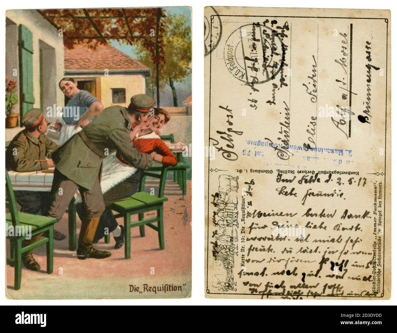"""German historical postcard: Military humor, """"Requisition"""" a soldier """"requisitiong"""" a young woman from a summer cafe, world war one 1914-1918, reverse Stock Photo"""