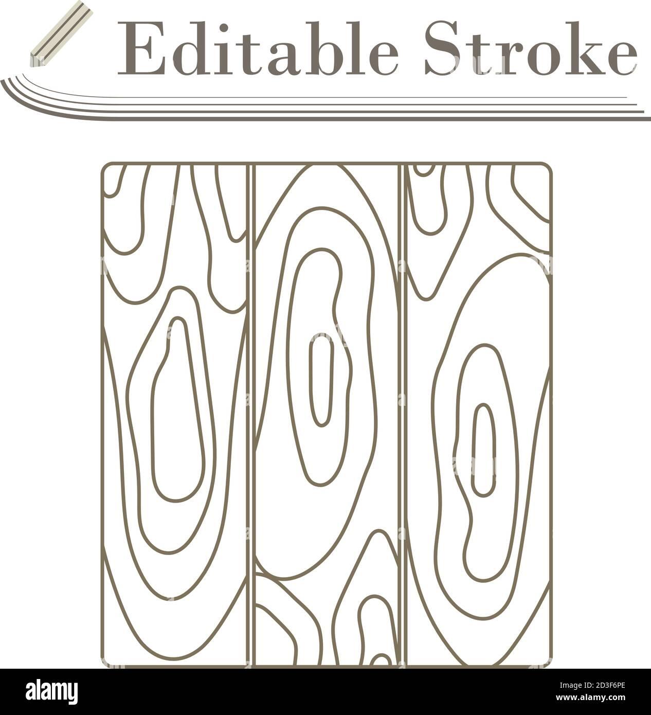 Icon Of Parquet Plank Pattern. Editable Stroke Simple Design. Vector Illustration. Stock Vector