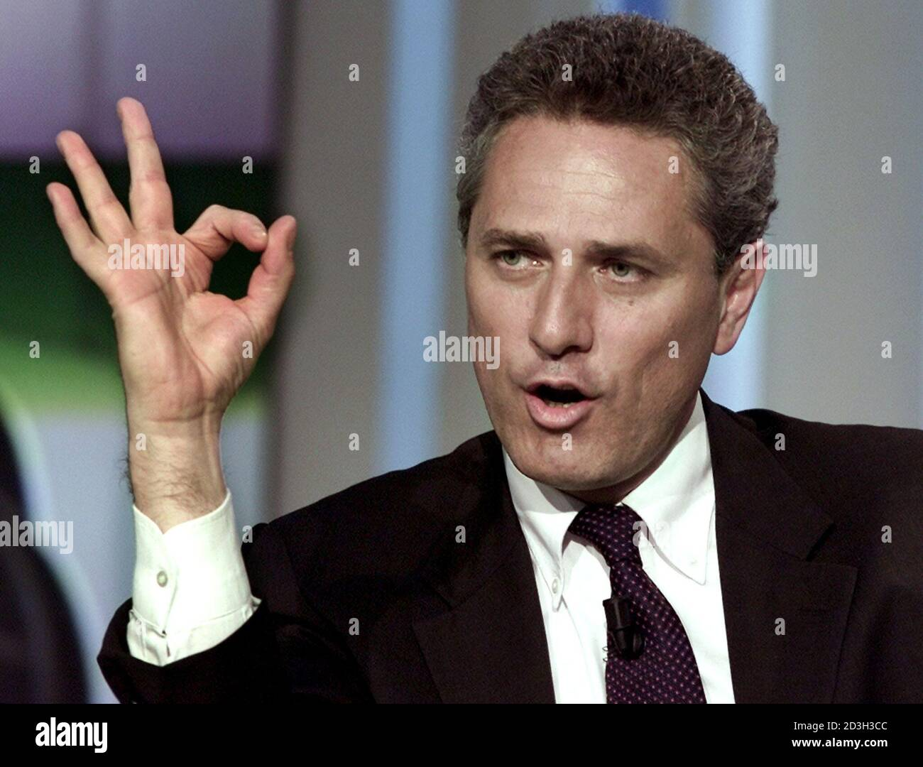 Centre Left Prime Ministerial Candidate Francesco Rutelli Gestures During The Recording Of The Television Talk Show Porta A Porta Door To Door At The Italian State Television Company Rai S Headquarters May 7 2001