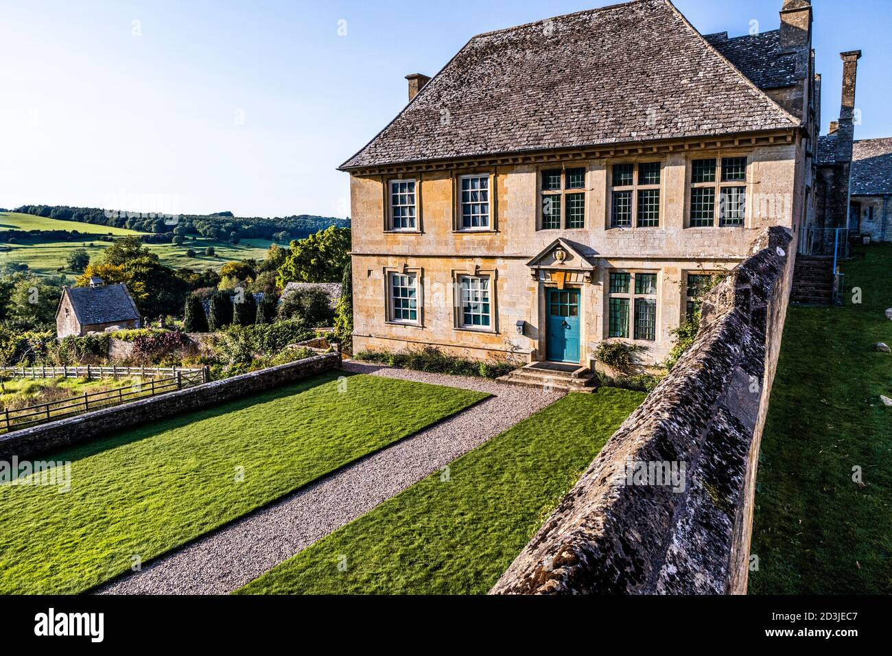 Evening light on Snowshill Manor in the Cotswold village of Snowshill, Gloucestershire UK Stock Photo