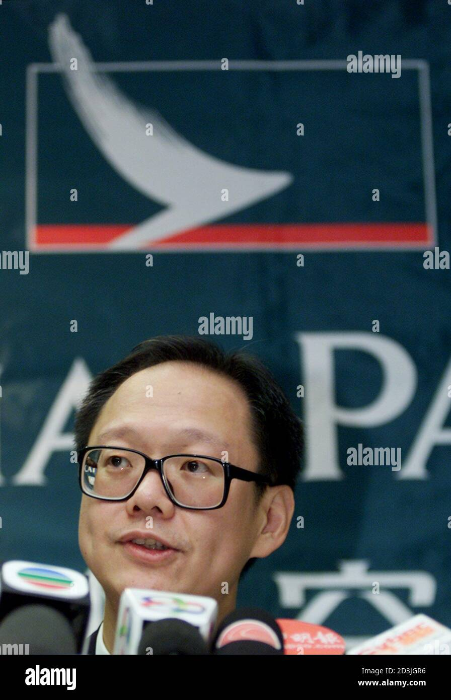 Philip Chen, director and chief operating officer of Cathay Pacific Airways, speaks during a news conference in Hong Kong, July 9, 2001. Asia's fourth largest airline said on Monday it had sacked 49 pilots and would implement a new pay and rostering package unilaterally, in effect trying to impose its will on pilots during the second major dispute between Cathay pilots and management in as many years.  BY/RCS Stock Photo