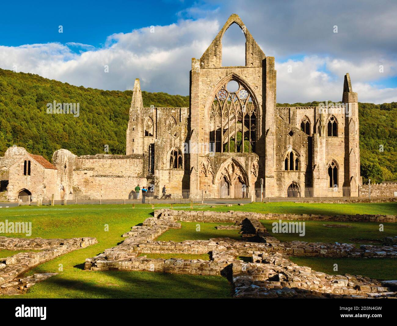 Tintern Abbey, Monmouthshire, Wales, United Kingdom.  The Cistercian abbey fell into ruin aftr the DIssolution of the Monasteries in the reign of King Stock Photo